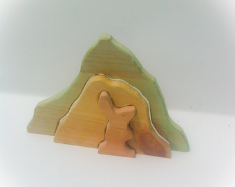 Rabbit & burrow. Wooden play set.