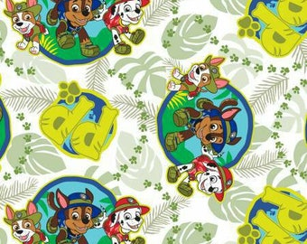Paw Patrol Jungle Pups Nick Jr tracker cotton fabric nickelodeon woven characters logo quilting material kids by the yard metre green