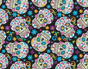 Black Folkloric Skulls Fleece by David Textiles DT28883A3 sugar skull flowers floral day of the dead polyester fleece by the yard metre