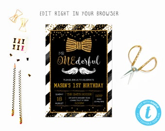 Mr Onederful party tem, TRY BEFORE you BUY, instant download, edit yourself invitation,Template Editable