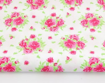 100% cotton fabric pink pattern on a white background printed 50 x 160 cm, 100% cotton