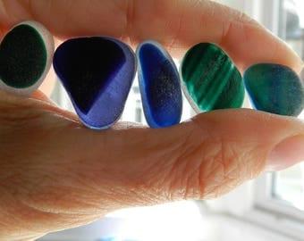 Five Dark Sea Glass Pendant Multis