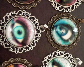 6 eye ball eyes glass cabochon pendants  destash  clearance #p18