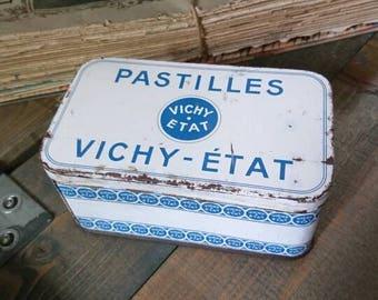 Vintage French tin. Pastiles Vichy-etat. Blue and White striped tin. Storage tin. Jewellery box.