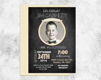 Birthday Party Invitation, Surprise Party, Chalkboard, 60th Birthday, Printable, Customizable