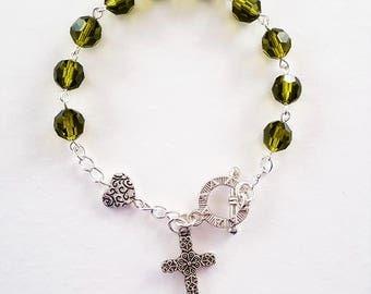 Olive Crystal Rosary Bracelet