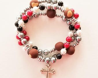 OSU Buckeyes Stretch Rosary Bracelet