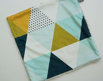 Modern Triangle Lovey, Baby Boy Lovey, Triangle Print, Minky Baby Blanket, Minky Baby Lovey, Modern Baby Blanket, Minky Baby Boy Lovey