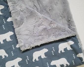 Geometric Bear Blanket, Baby Boy blanket, Bear Baby Blanket, Toddler Blanket, Baby Boy Minky Blanket, Bear Blanket, Woodland Blanket, Bear