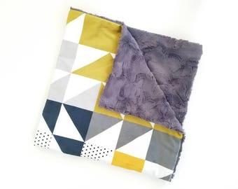 Modern Geometric Minky Blanket, Baby Boy Blanket, Minky Blanket, Geometric Baby Blanket, Boy Minky Blanket, Toddler Minky Blanket, Baby Gift