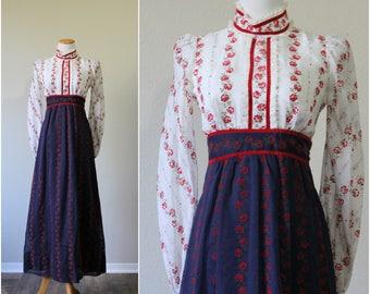 Vintage 70's Candi Jones California Flocked Velvet Red Rose Victorian Floral Voile Maxi Dress