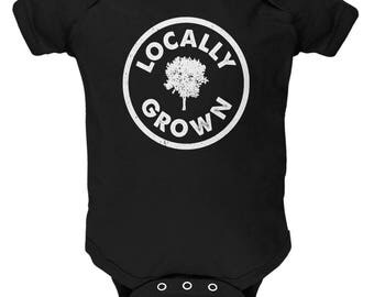 Earth Day - Locally Grown Black Soft Baby One Piece
