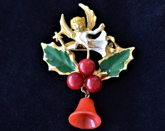 Vintage Christmas Angel Brooch Holly Mistletoe Bell Coat Sweater Scarf Holiday Pin Retro Costume Jewelry 2.25""