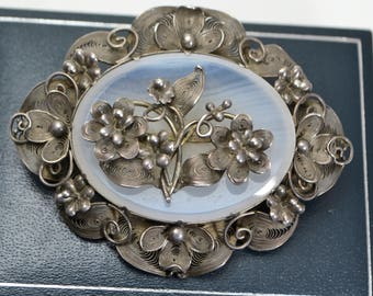 Victorian Solid SILVER & AGATE Stunning CANNETILLE Filigree Flowers Brooch / Pin