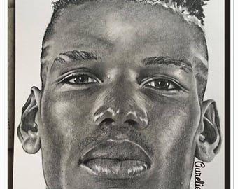 """pencil portrait of """"Paul Pogba"""" graphite"""