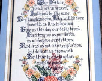 The Lord's Prayer Sampler 28 Ct Ivory Evenweave Cross Stitch Kit Metallic Thread