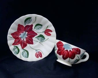 Blue Ridge Cup Saucer Set POINSETTIA Southern Potteries COLONIAL Hand Painted Dinnerware Red Flowers Christmas (B33) 9940