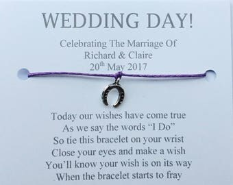5 x Personalised Wedding Day Wish Bracelets Favours/Gifts, Table Favours For Your Guests Plain Design