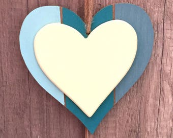HEART WOODEN DECORATION TO HANG GRADIENT BLUE AND YELLOW