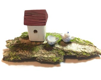 Tiny Little Bird House, small wooden cottage, white house and red roof, mossy bark base, teacup & teapot, tiny mini house, housewarming gift
