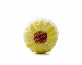 Sunflower, Gift, Bath Bomb, Party, Spa, Gifts for Her, Handmade, Flower, Bath Fizzie, Favors, Party, Grapefruit