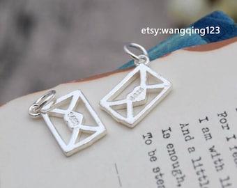 2 pcs sterling silver envelope charm pendant  , S1