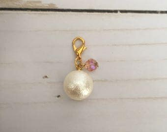 Crystal Pearl Charm- Pink