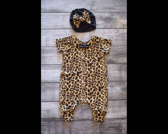 Cheetah Romper //Turban // 0-3 Months // Coverall // Harem Romper // Ready to ship // Infant Romper