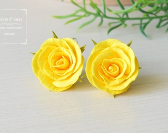 Yellow Rose Earrings Flower earrings Wedding Gift for her bridal jewelry Roses jewelry bridesmaids gift Yellow earrings for girls Summer
