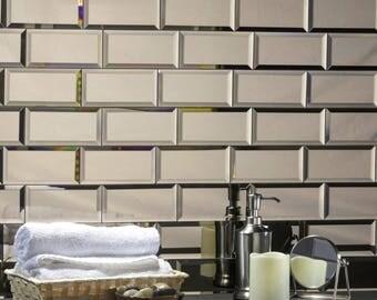 Peel and Stick Gold Mirror Glass  Glass Subway Glass Tile- 3x6 - Peel and Stick Mirror- Home Design 12 square feet per box