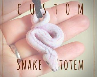 Custom Snake Totem Pendant Handmade Pet Portrait  Figurine Sculpture