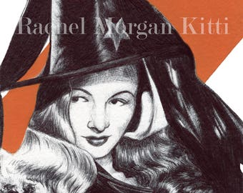 Veronica Lake, Vintage, Old Hollywood, Art Print, Giclee, Witch, 1940s, Comedies, Classic
