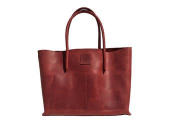 Leather bag Big shopper Ledershopper Vintage leather Red handmade