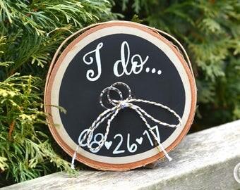 Wedding Ring Holder / Ring Bearer / Ring Bearer Pillow / Custom / Wood Slice / Birch Wood / Birch Bark / Rustic Wedding / Outdoor Wedding
