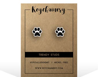 Dog Paw Stud Earrings - Animal Lover Gifts - Dog Paw Accessories - Gifts for Dog Lovers - Nickel-free Stud Earrings