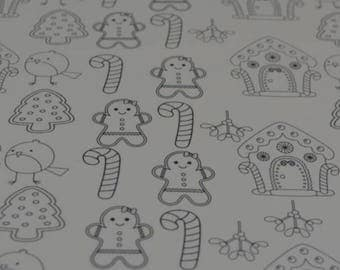 Colour in printed canvas, bow fabric. Cute christmas fabric for bows. Colour in for bows.