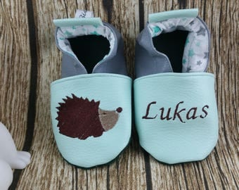 Slippers soft leather and leatherette, baby, boy, girl, child, personalized, hedgehog