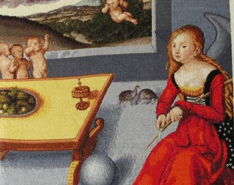 "Handmade Petit Point Gobelin ""Melancholy"" (after Lucas Cranach painting)"