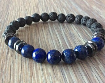 Beads Bracelet Meditation Lapis Lazuli and lava rocks man/woman