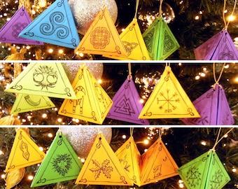 DIY pagan Yule ornaments, printable Yule decoration, downloadable Yule decor, Wiccan decor, Nordic ornaments, pagan art, Celtic decorations