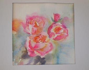 Aquarelle sur papier thème des fleurs