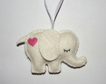 Lovely Wool Felt Elephant Ornament, White Elephant, Nursery Decor, Baby Shower Gifts, Housewarming Decor, Baby Shower, Felt Animal, Birthday