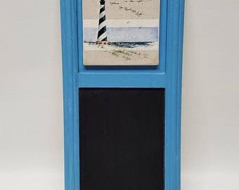 Nautical Ocean Decor Lighthouse Chalkboard with Key Hooks