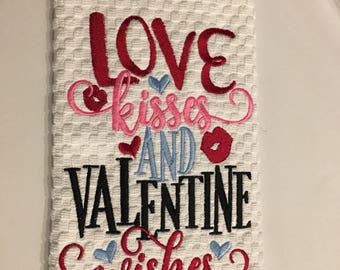 Valentines  kitchen towel, Love kisses and valentine wishes