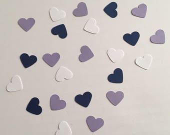 225 Navy White and Purple Heart Confetti Bridal Shower Confetti Wedding Confetti Baby Confetti Shower Confetti 2018 Wedding Confetti
