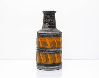 VEB Haldensleben Vase Grey and Orange Form 3095 B East German Vintage MCM
