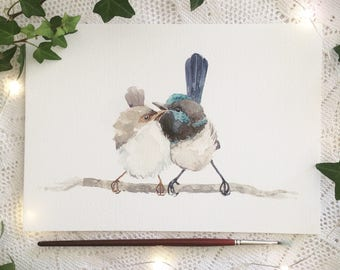 A5 Blue Wren Couple