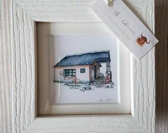 Framed Hutchie Hut Old print