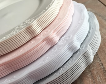 Modern Vintage Party Plates and Bowls. Disposable Wedding Plates.  Disposable Party Plates.