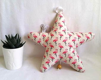 Star musical little pink Flamingo graphic, handmade baby white or grey background